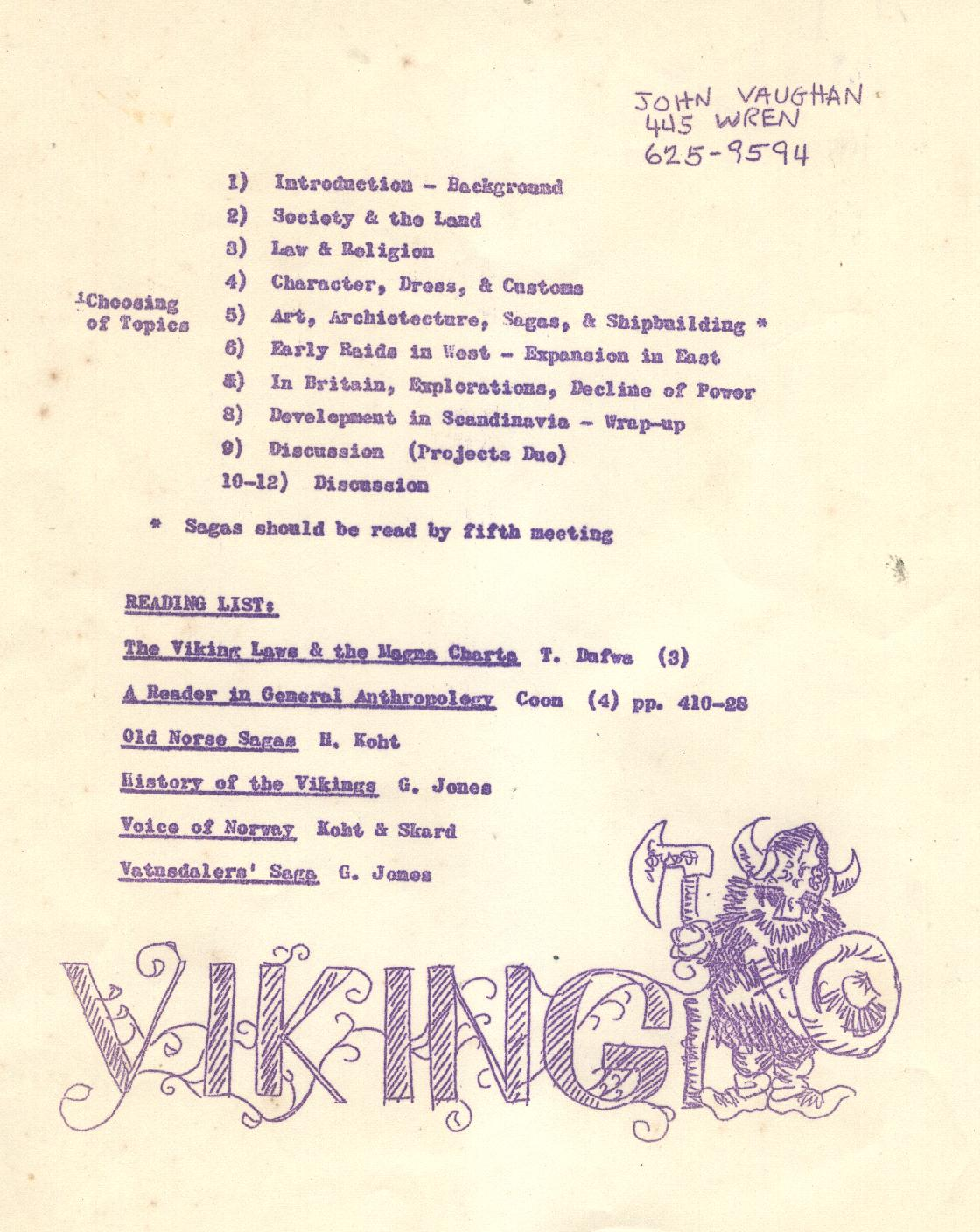 Viking Course Syllabus